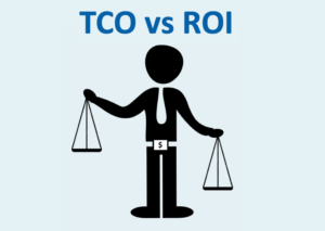 TCO vs ROI represented by a man holding scales.